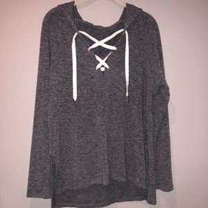 Gray Lace Up Hoodie